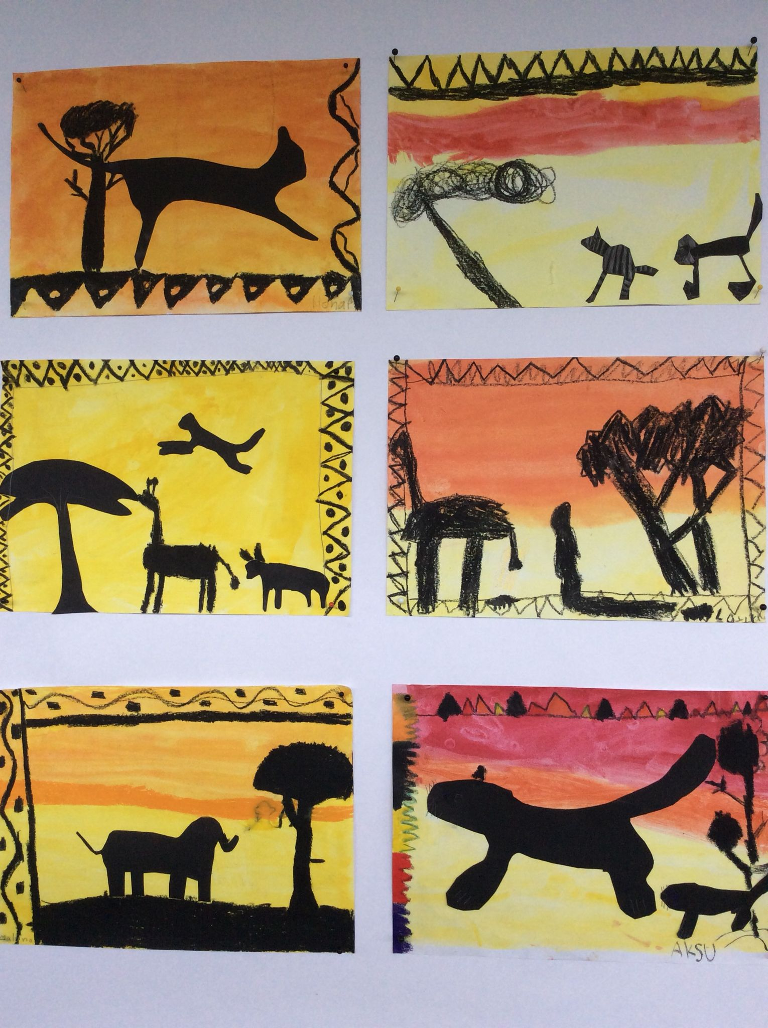 Kakkosluokkalaisten savannin eläimiä