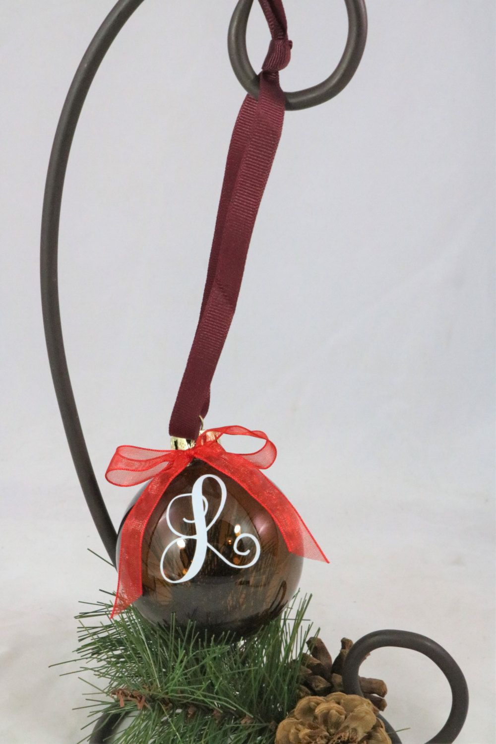 Vinyl L amber color brown glass Christmas ornament initial letter by ...