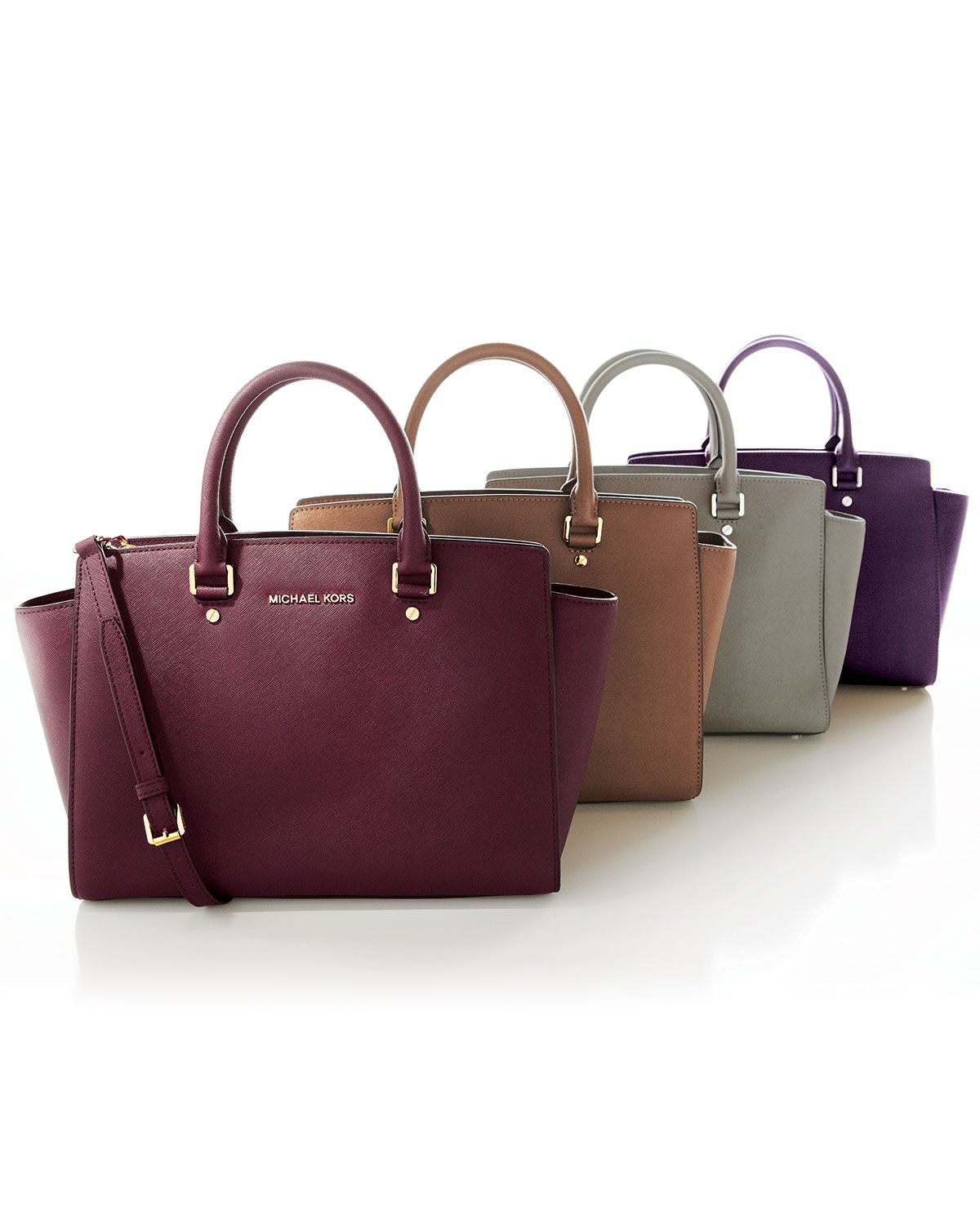 Michael By Michael Kors Large Selma Topzip Saffiano Satchel in Purple (DARK  RED)  5b178d63daf76