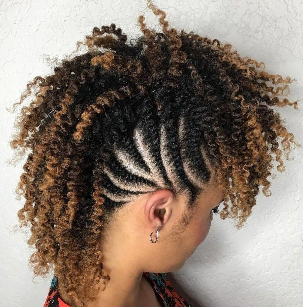 Curly mohawk with flat twisted sides naturalhairstyles natural