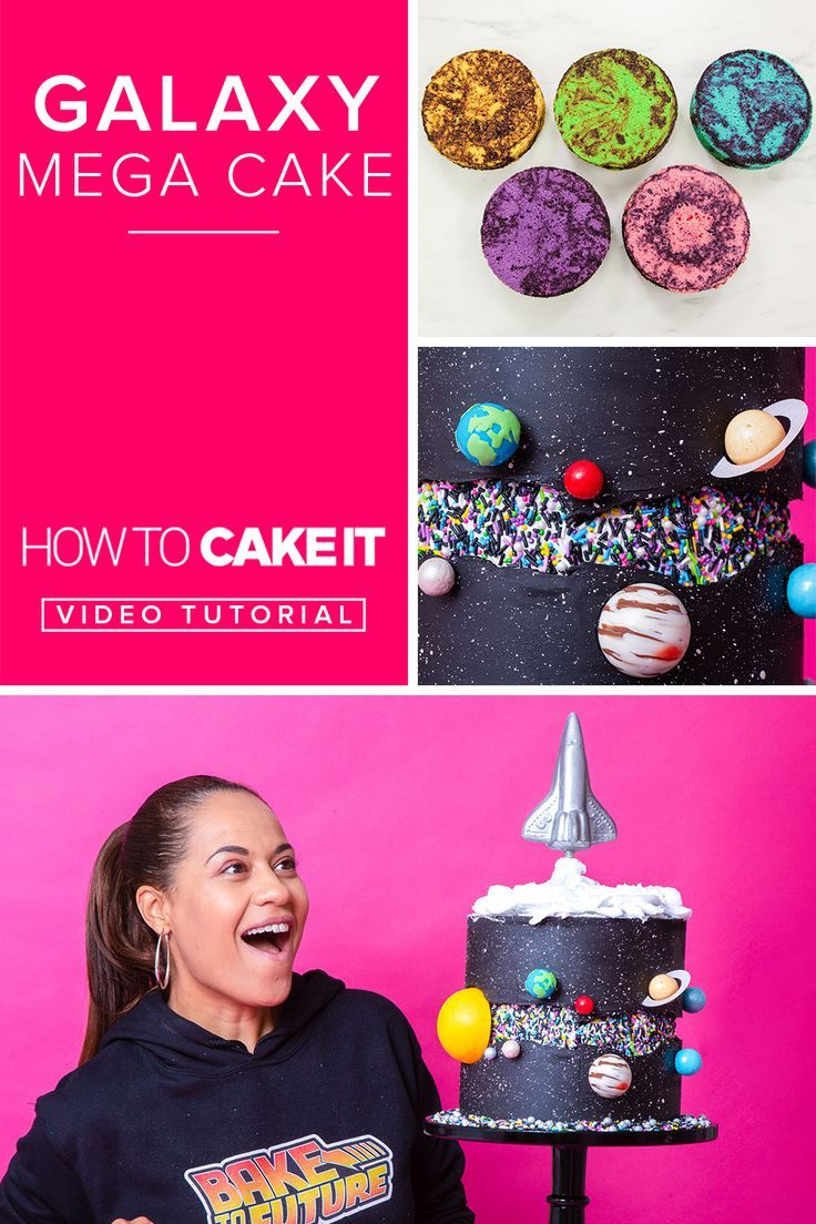 Galaxy Mega Cake Galaxy Mega Cake | This cake is coated in a black chocolate ganache yet, the inner bright colours are matched by the featured fault line that exposed the colourful sprinkles. The cake is decorated in planets then topped off with a sparkling rocket ship. | How To Cake It