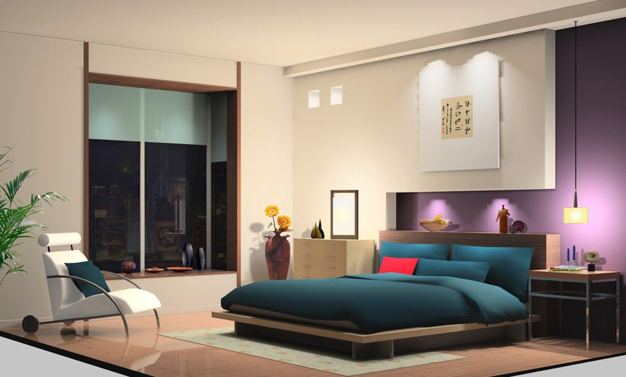 3D Bedroom Design Bedroom Purple And Yellow Walls Design Purple Curtains For