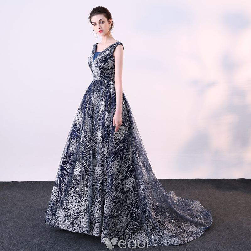 53bc6f269ae Chic   Beautiful Navy Blue Evening Dresses 2018 Ball Gown Glitter Sequins V-Neck  Backless Sleeveless Court Train Formal Dresses