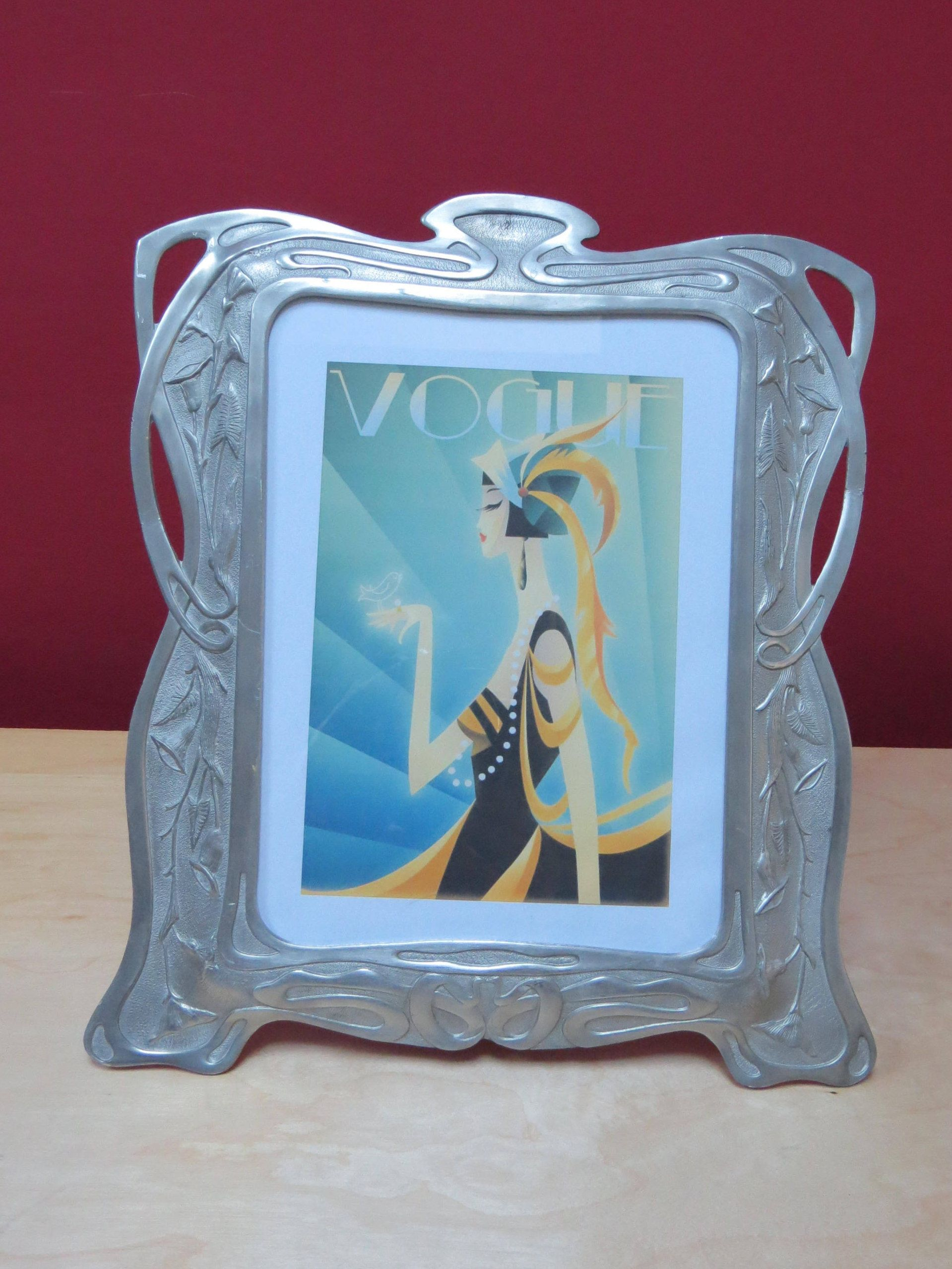 Beautiful, Large Art Deco Pewter Photo Frame, Picture Frame By