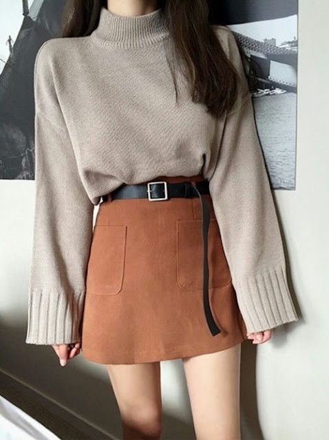 Women's fashion | Turtle neck sweater with belted burned orange skirt