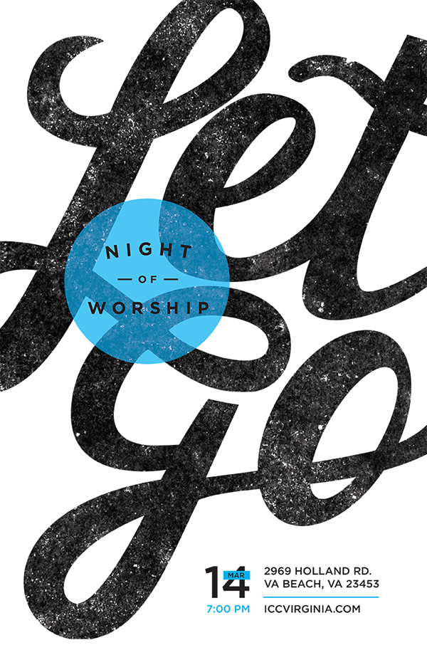 Poster and social media series for Night of Worship event at International Christian  Church called