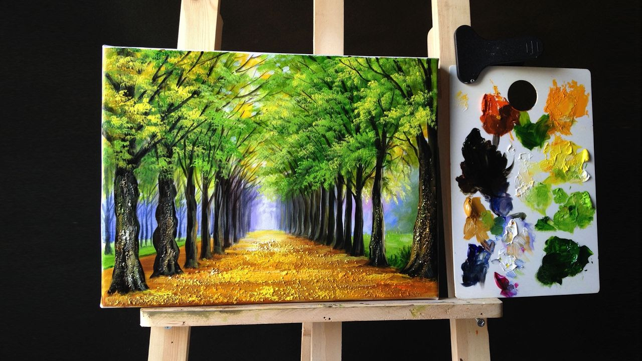 Tree Lined Road Deciduous In Acrylics Malerier Akryl Maling