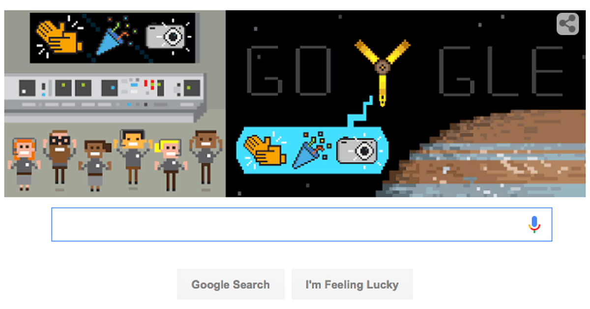 Google Doodle Celebrates Junos Trip To Jupiter With Cute Jumping