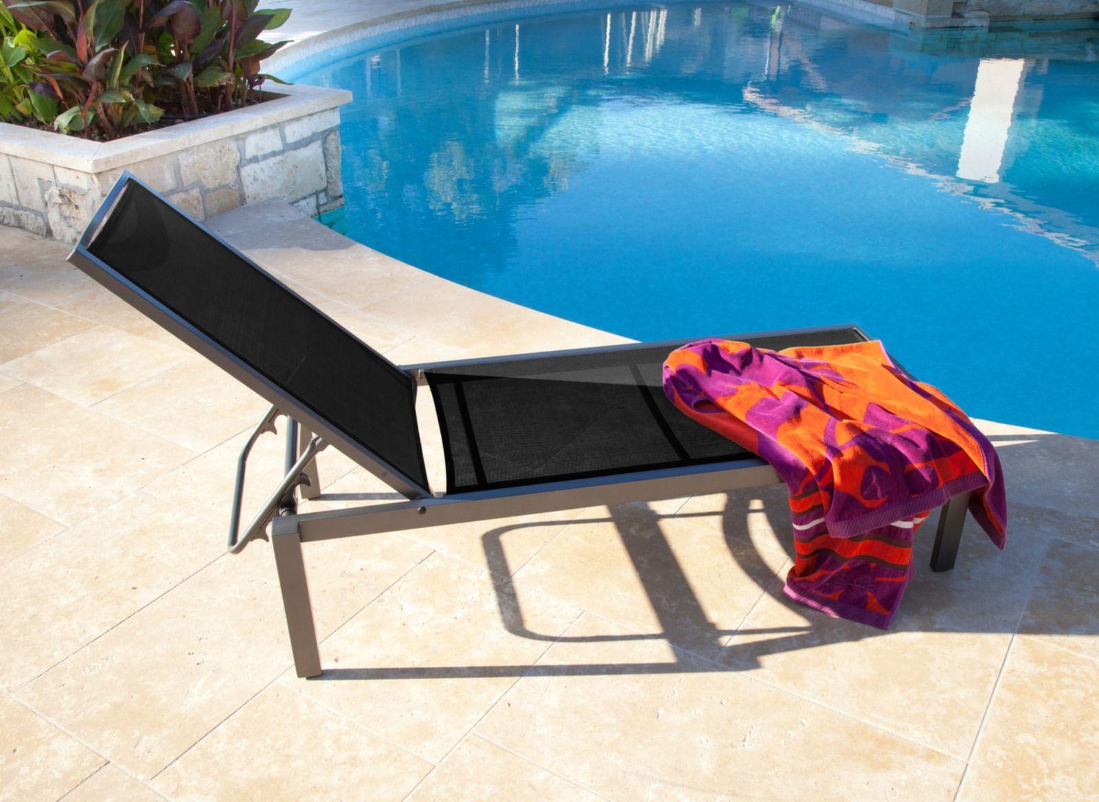 Lit Soleil Reglable Aluminium Toile Textilene Ida Oceo