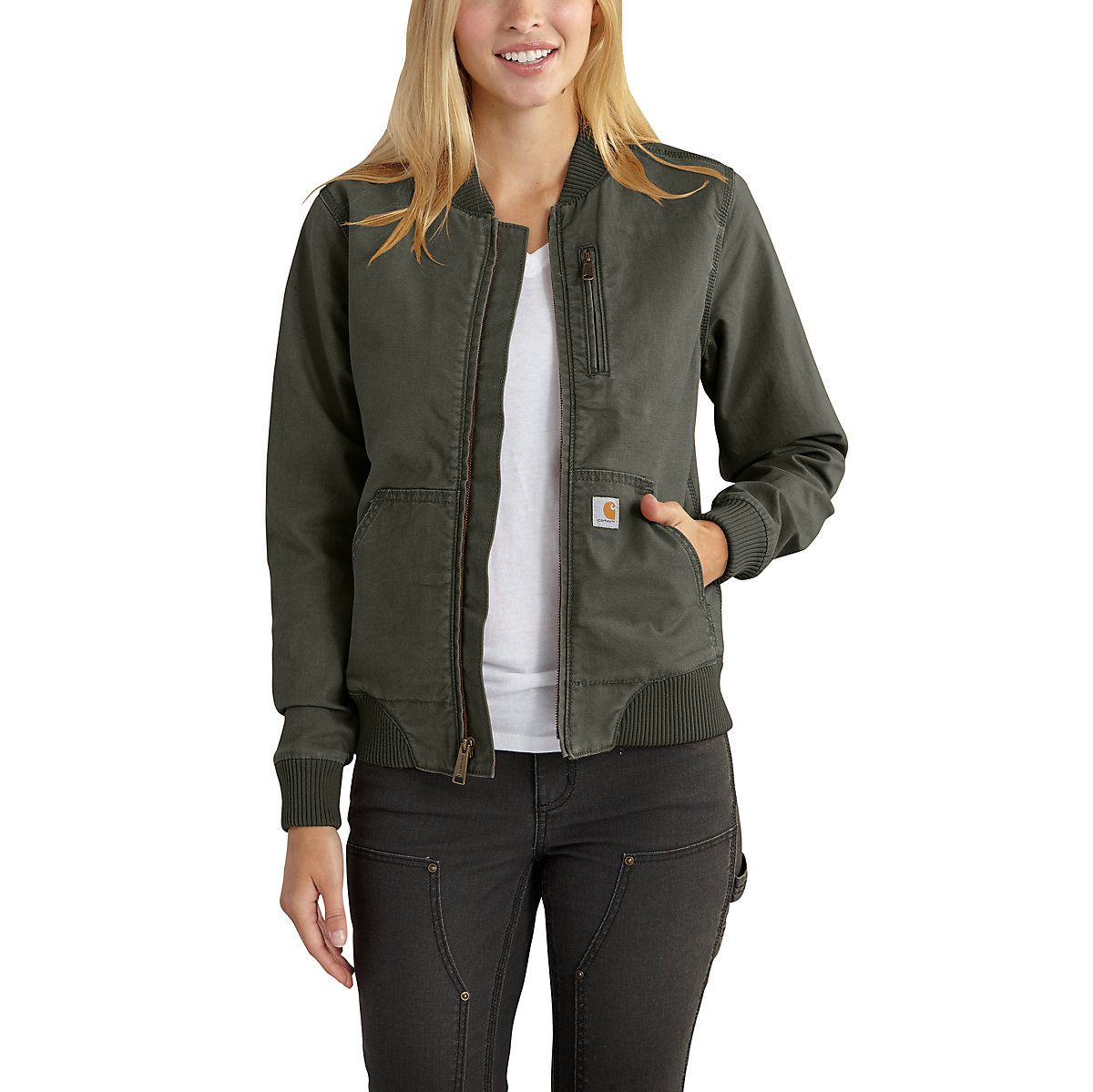 6d65120eb4 Shop the Crawford Bomber Jacket for Women's at Carhartt.com for Women's  Outerwear that works as hard as you do.