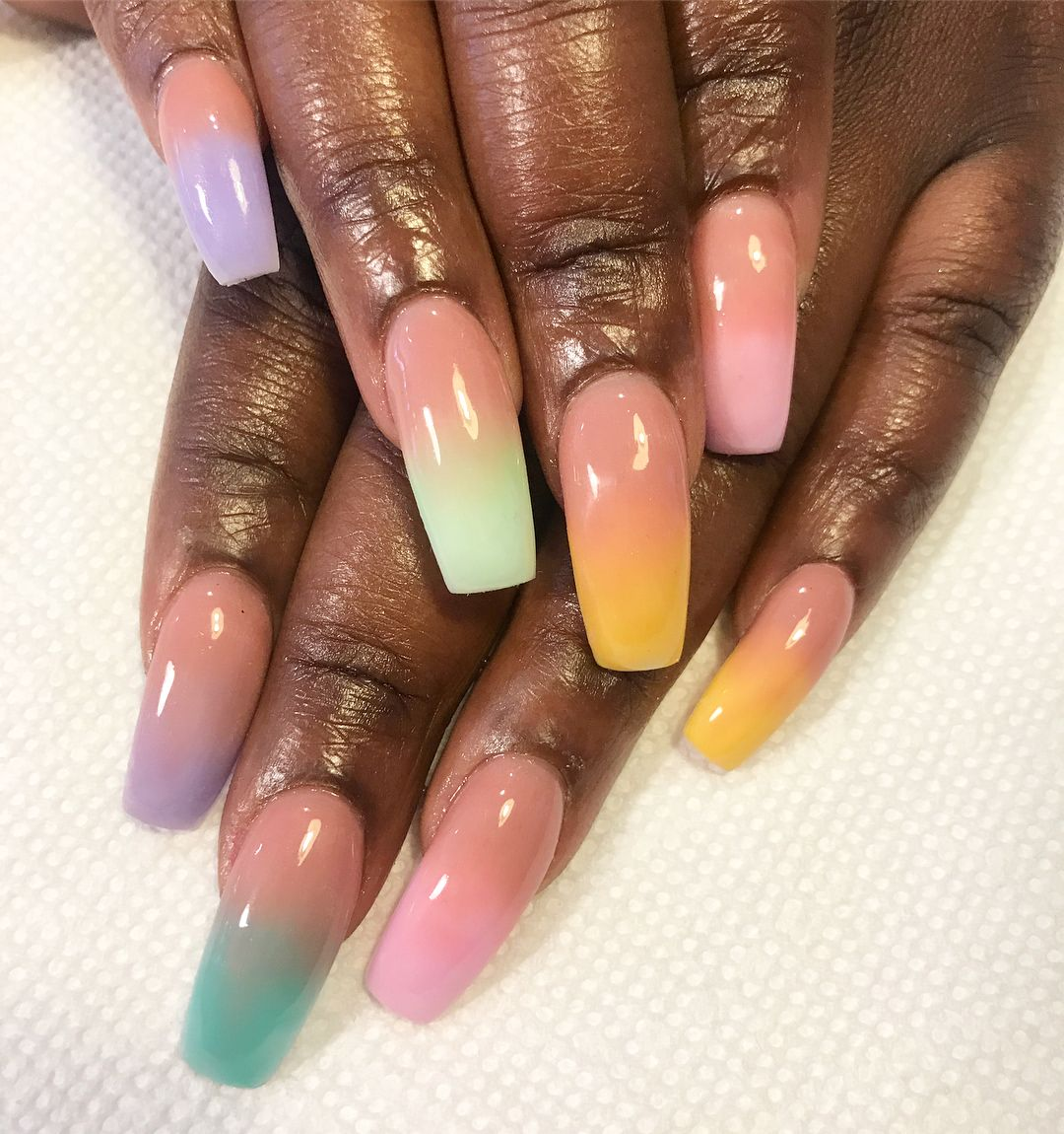 Long Acrylics With Pink And Pastel Ombre Blackgirlnails Ombre Ombre Acrylic Nails Girls Nails Pink Ombre Nails