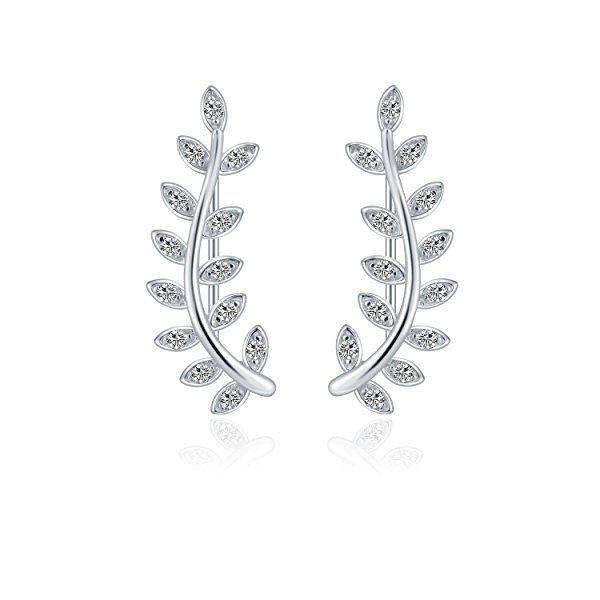 9c9dd6257 Amazon.com: 925 Sterling Silver Leaf Crawler Cuff Earrings Olive Leaf Studs  Ear CZ