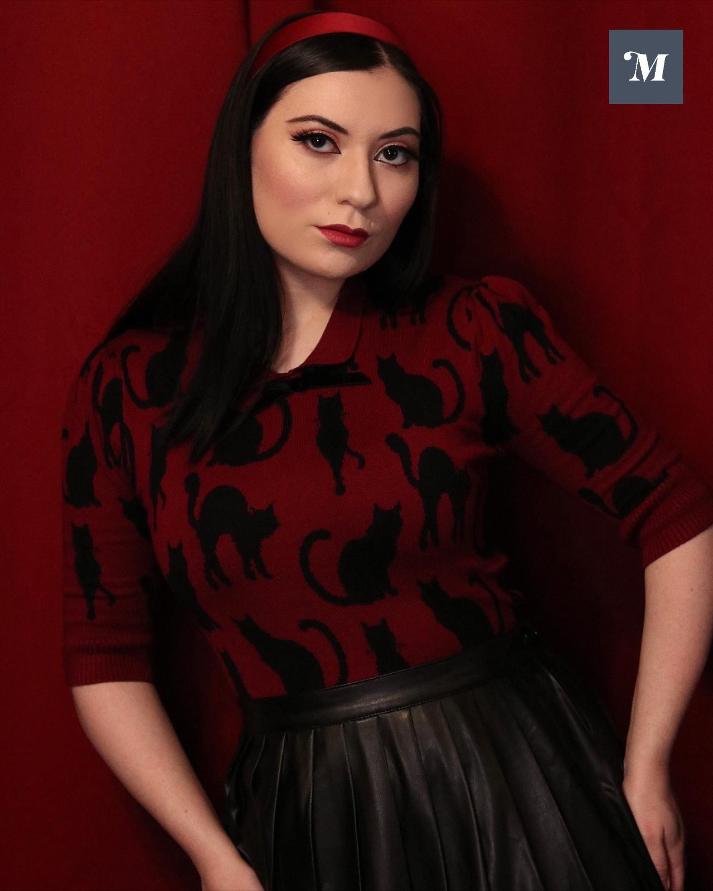 Looking For A Purr Fect New Top We Have Just The Style Stretchy Cozy Wine Red Knit Meows To Life With An Allover Black Cat Print That