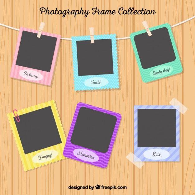 Bonitos marcos de fotos de colores colgando Vector Gratis   bordures ...