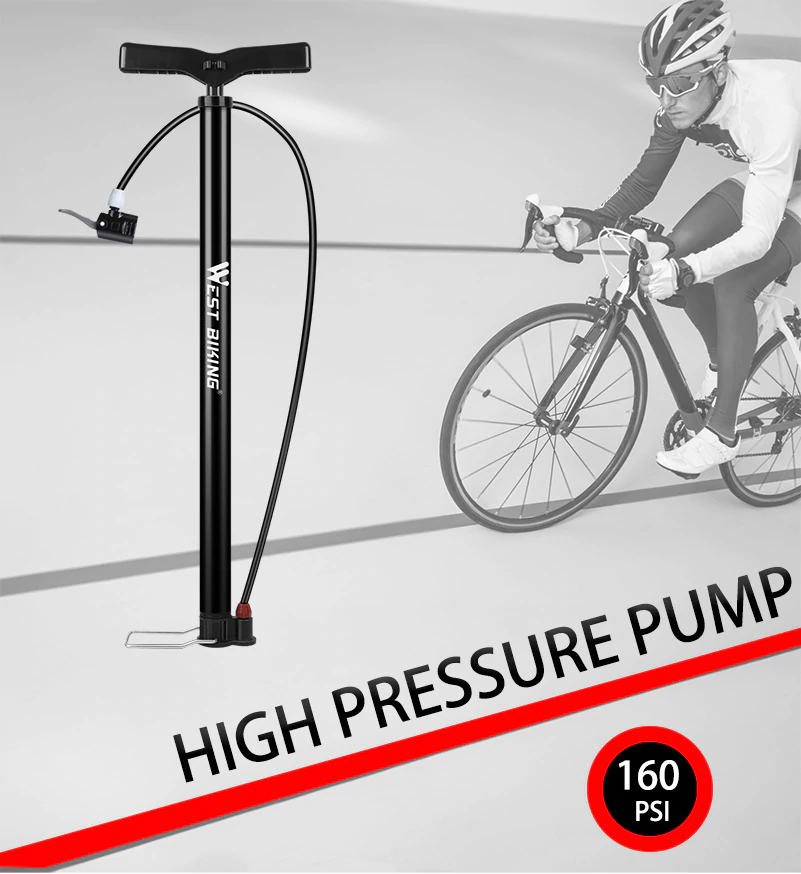 160psi Bicycle Pump Steel Body Cycling Tire Air Inflators Electric Bicycle Accessories High Pressure Mtb Bike Pump Bicycle Pump Bike Pump Bike Riding Benefits