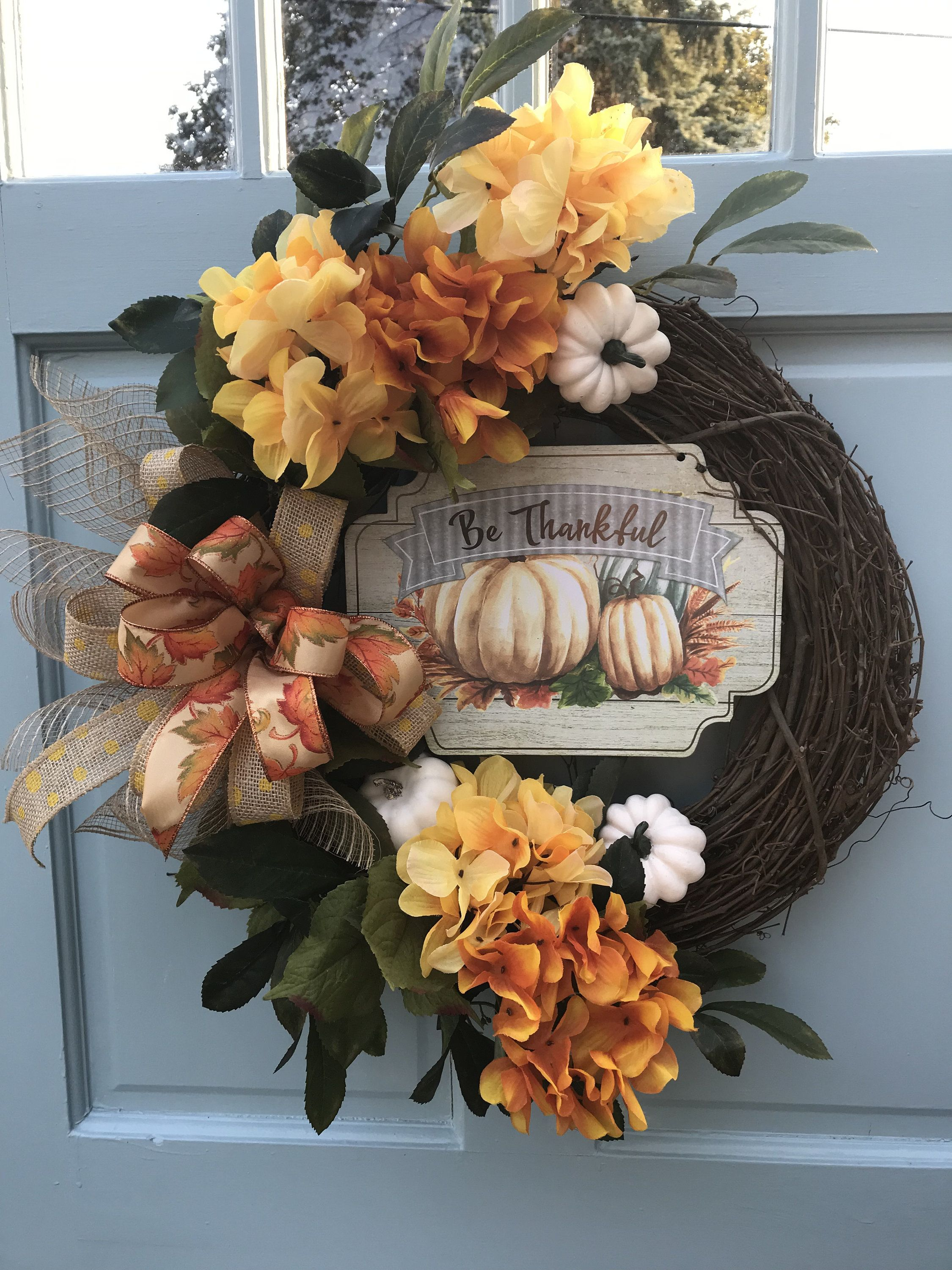 Photo of Fall Orange and Yellow Hydrangea wreath for front door, Autumn Pumpkin Floral Grapevine Wreath for Door, Be Thankful wreath for front door,