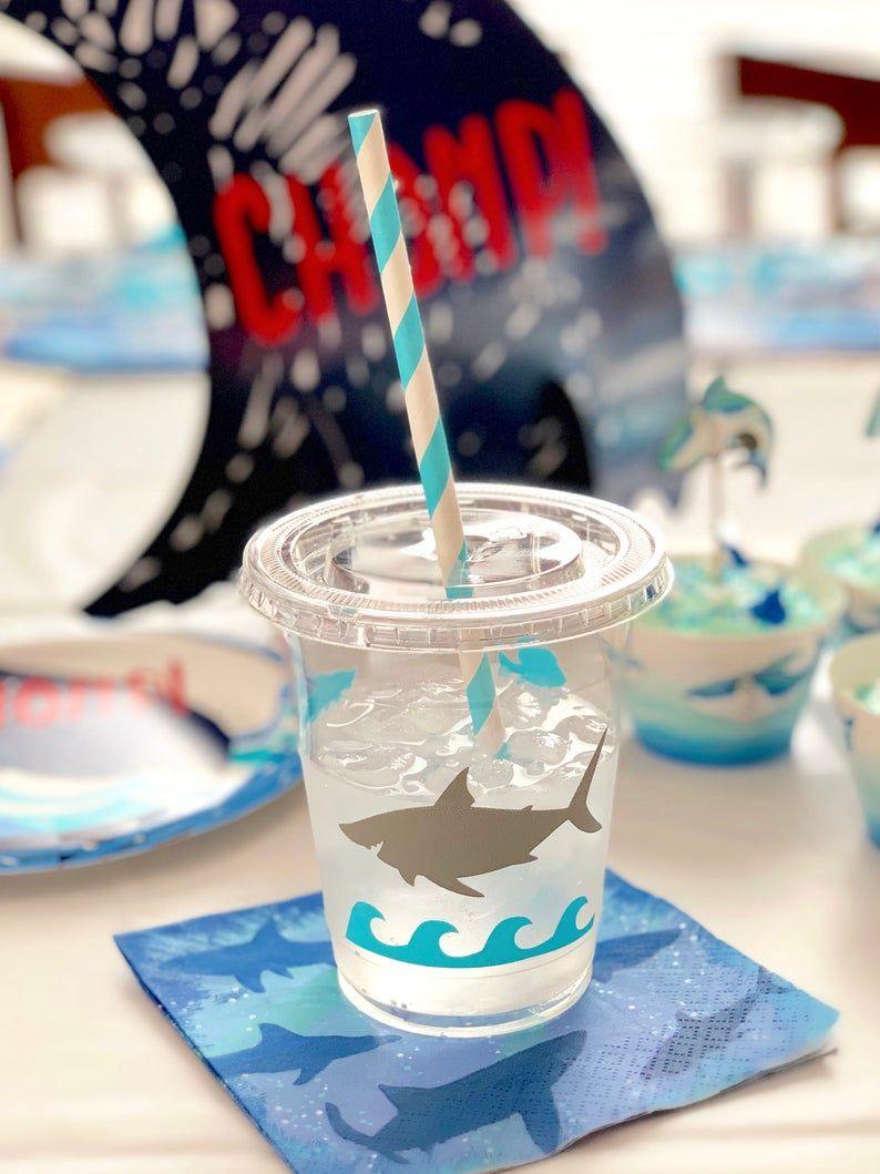 Shark Party Cups Shark Birthday Birthday Decorations Party