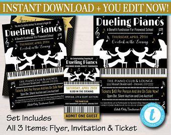 Editable Dueling Pianos Benefit Fundraiser InvitationFlyerTicket
