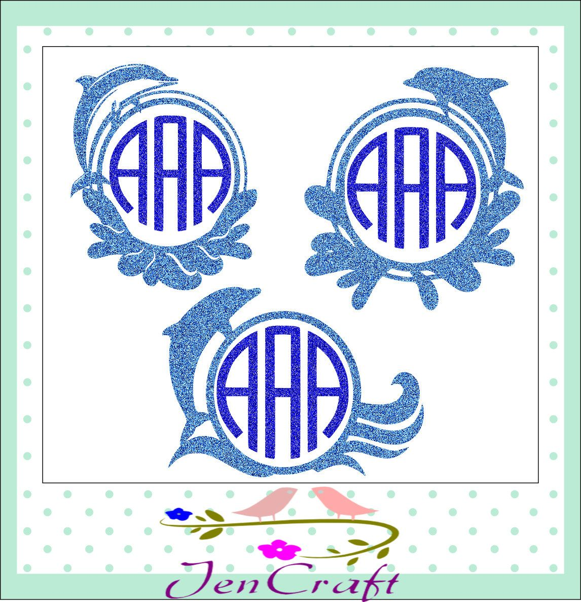 Dolphin Monogram Frame SVG, Dolphin SVG Cut Files - Monogram Frames for   Vinyl Cutters, Screen Printing, Silhouette, Die Cut Machines by JenCraftDesigns on Etsy