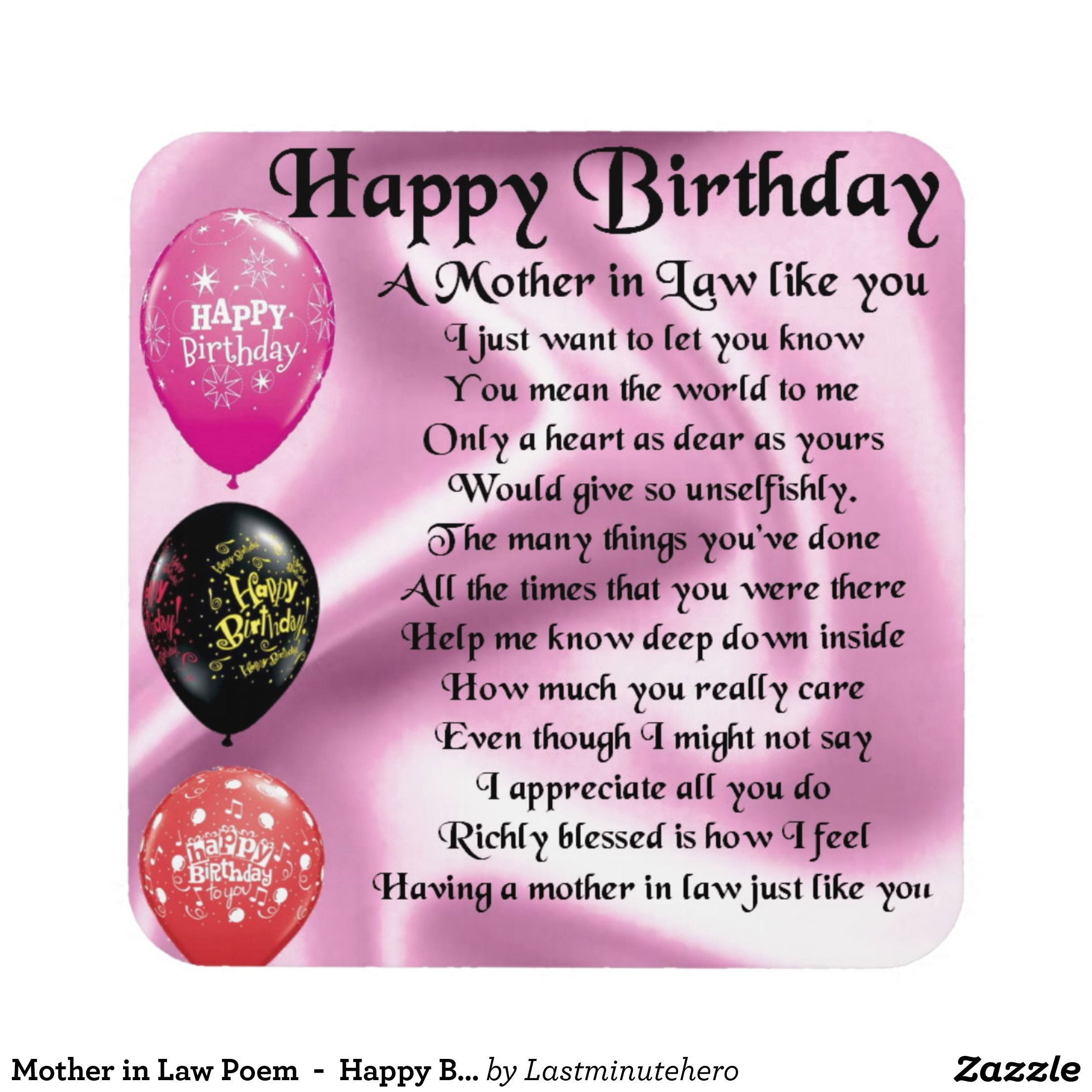 Mother In Law Poem Happy Birthday Coaster My Style Pinterest