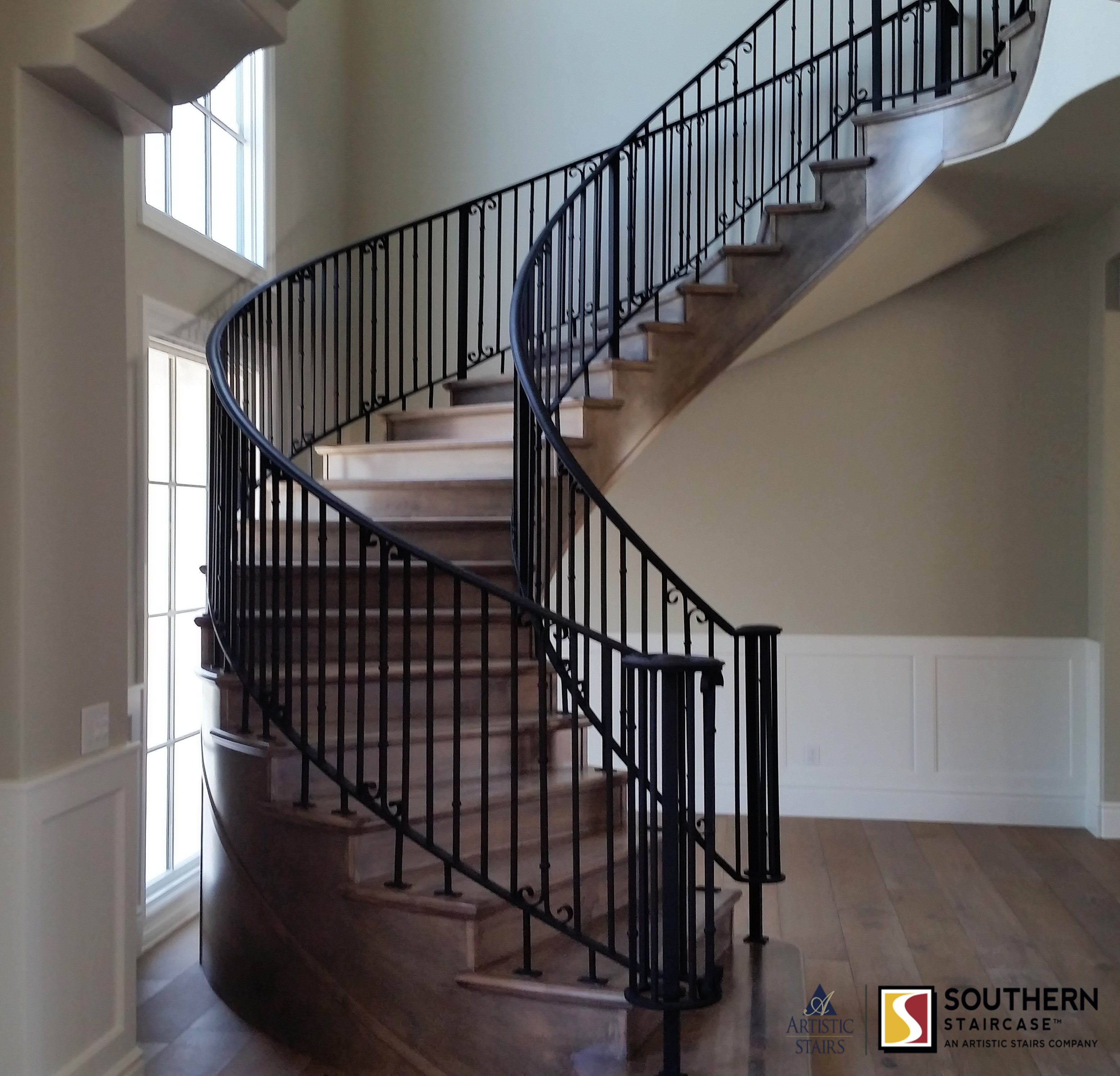Curved Stairs Southern Staircase Artistic Stairs Curved | Round Stairs Railing Design | Metal | Silver | Loft | Stainless Steel | Brown