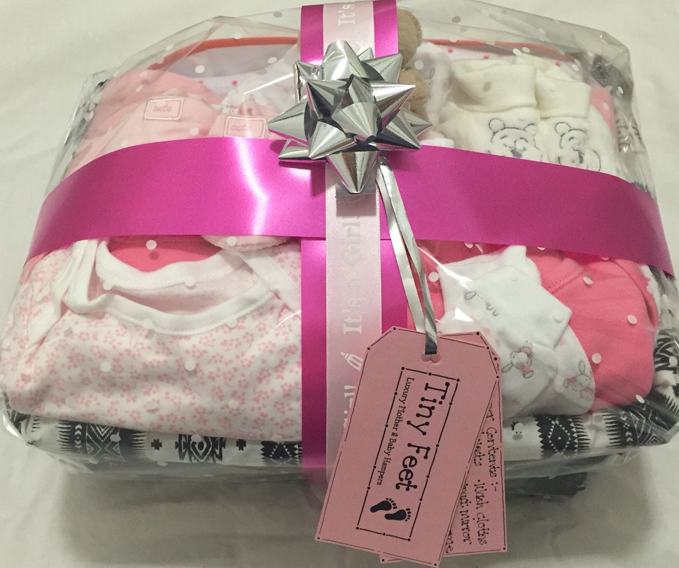 Mother and Baby girl gift for a special colleague delivered today. Ideal gift for both baby and proud mum from www.tinyfeethampers.co.uk #babygift #babygirl #babyhamper #baby