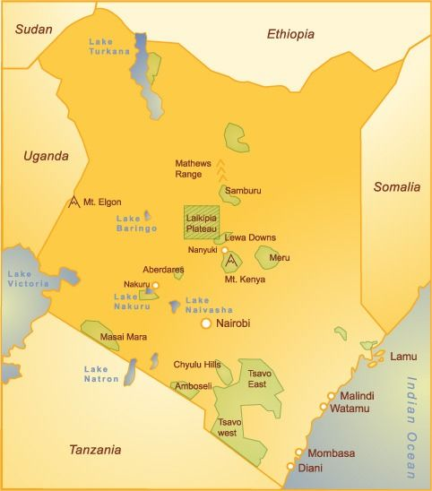 Map of Kenya Beaches on the Indian Ocean Tuchman Beaches Guide - new ethiopian plateau on world map