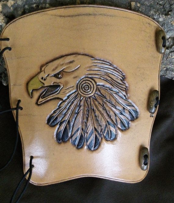 Hand carved Bald Eagle and feathers Leather by BigfootLeather, £34.99