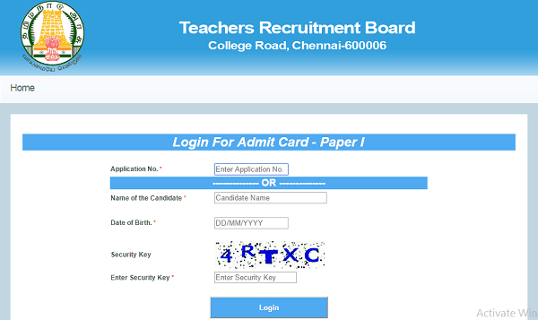 Tntet Admit Card Download Sample Teacher Recruitment Cards Home Login