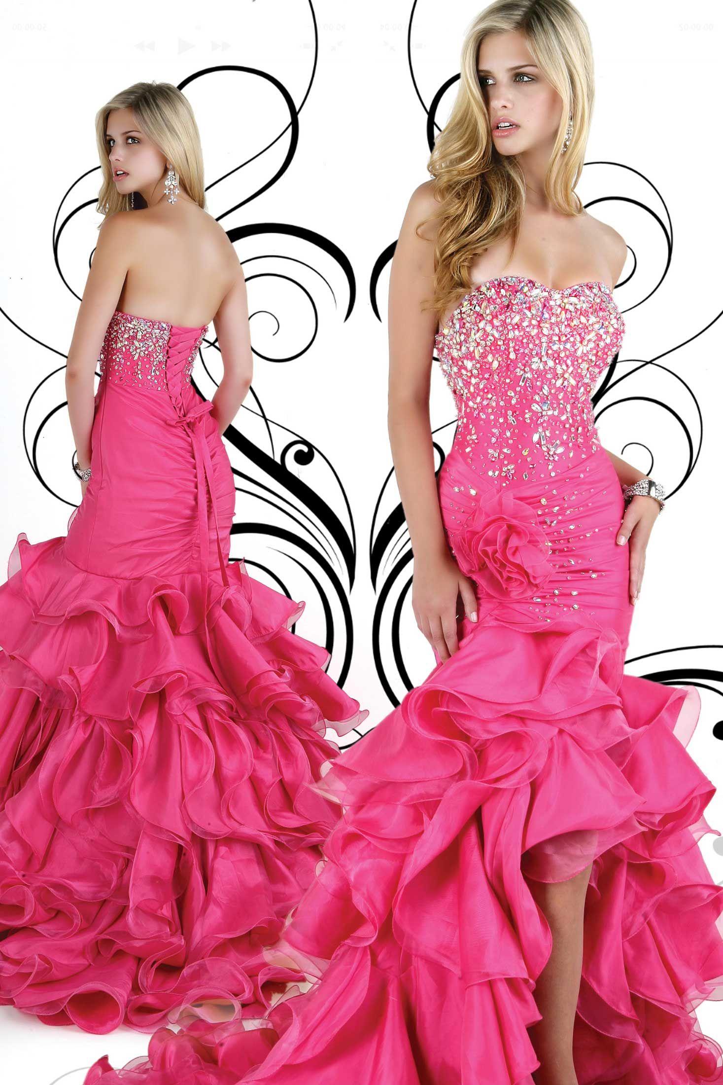 Ruffles High Low Style Hot Pink Evening Dress | Prom :) | Pinterest ...