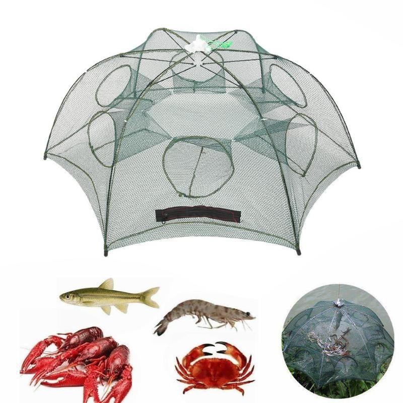 Folded Fishing Net 4//6//8//12//16 Hole Folding Portable Automatic Fish Shrimp Trap