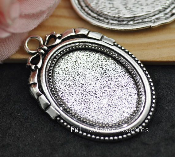 10pcs Antique Silver Cameo Cab Frame Blank Setting Charms Pendants ...