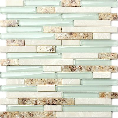 Glass Beach Style Shell Tile Sea Green Interlocking Kitchen Backsplash  Mosaic
