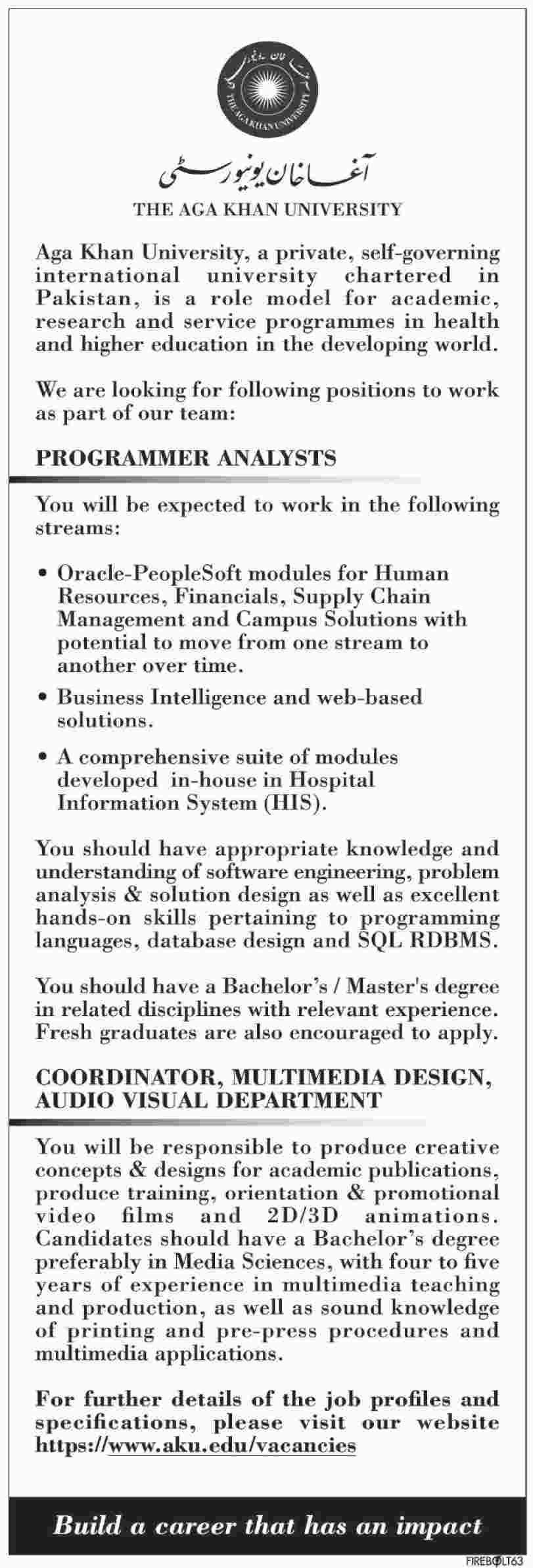 Jobs In The Aga Khan University Karachi Pakistan  January