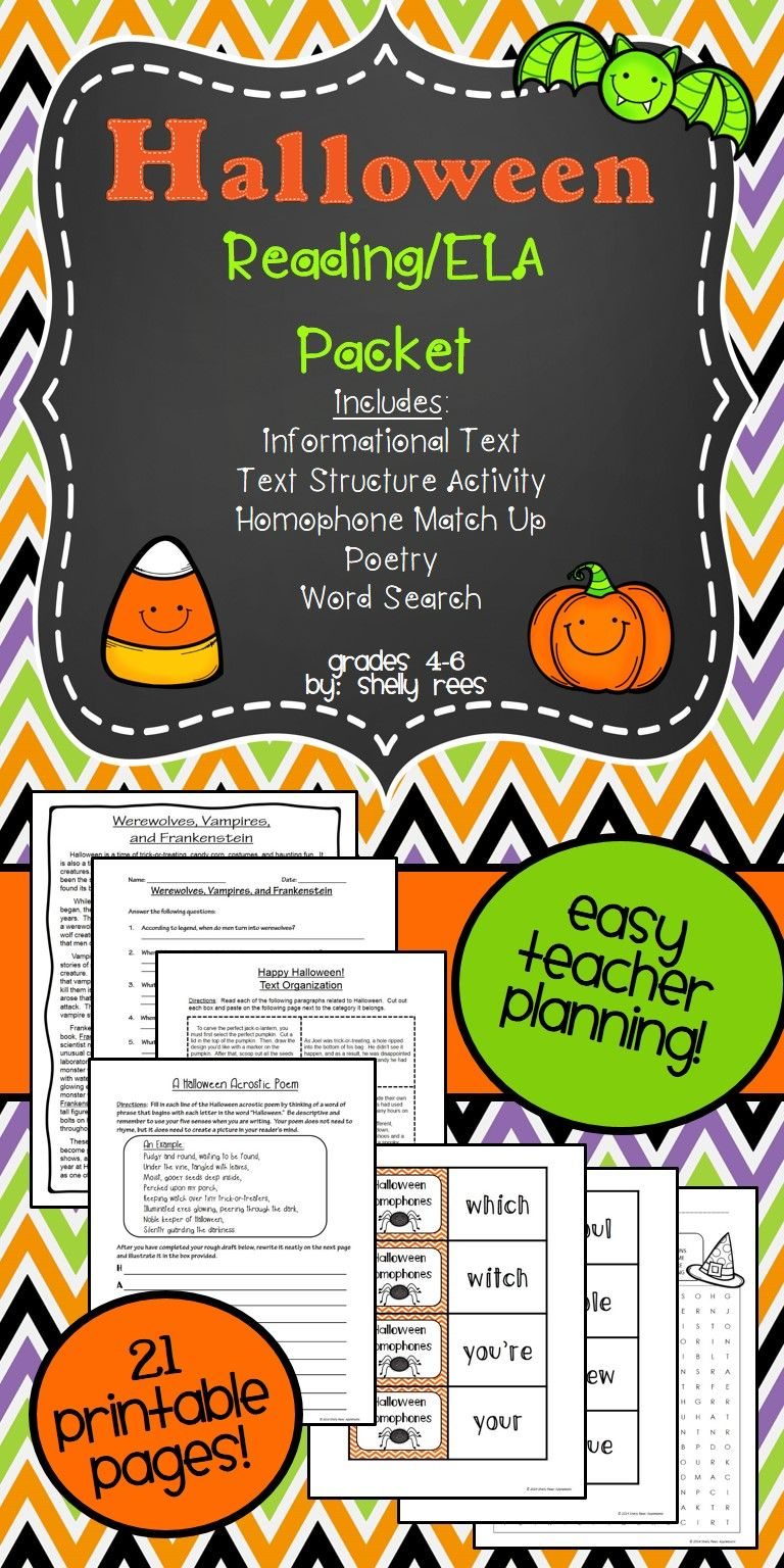 Halloween Reading Packet For Intermediate Grades Fun Yet Meaningful For Students Incl Halloween Reading Halloween Reading Comprehension 3rd Grade Reading [ 1536 x 768 Pixel ]