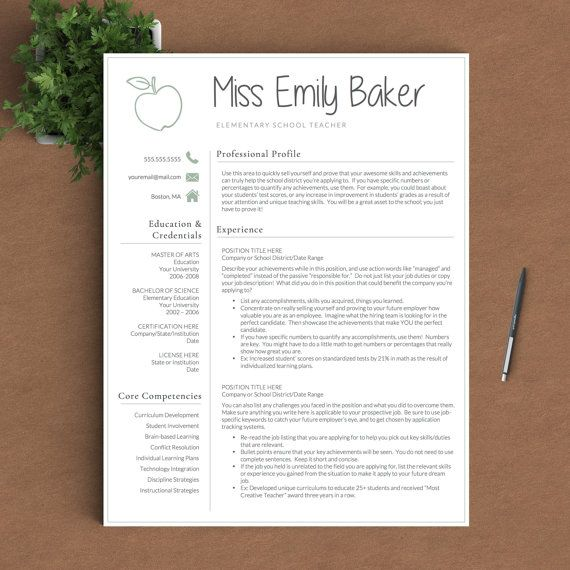Teacher Resume Template For Word U0026 Pages | 1, 2 And 3 Page Resume Template  + Cover Letter + References + Icons | Apple Teacher CV Template | Teacher  Resume ...