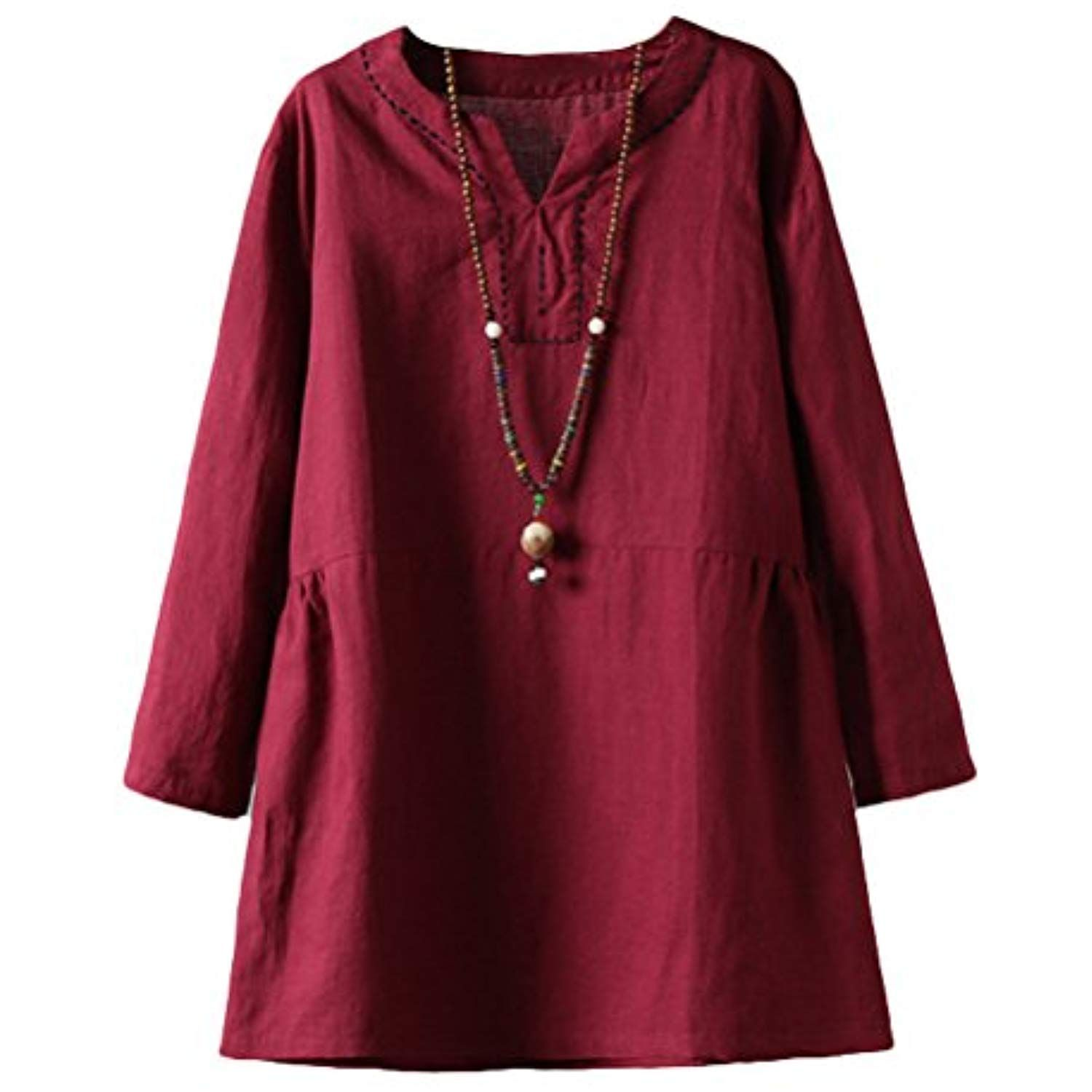 e85640d02d20 Women's Solid Color V Neck Tunic Blouse Top Retro Pullover Dress *** Click  image for more details. (This is an affiliate link)