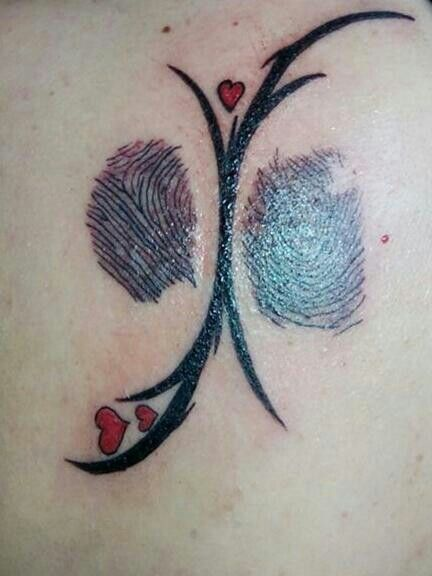tattoo with fingerprints from my mother and father made by tattoo zalm tattoos pinterest. Black Bedroom Furniture Sets. Home Design Ideas
