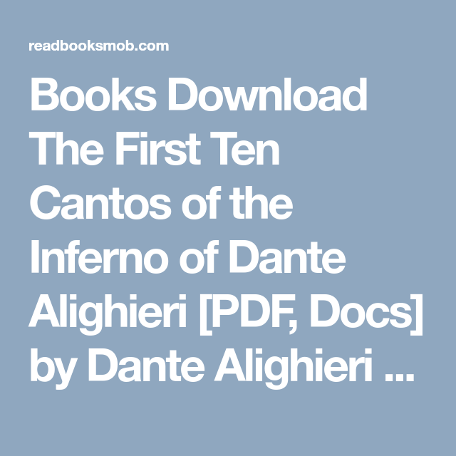 dantes inferno full text pdf