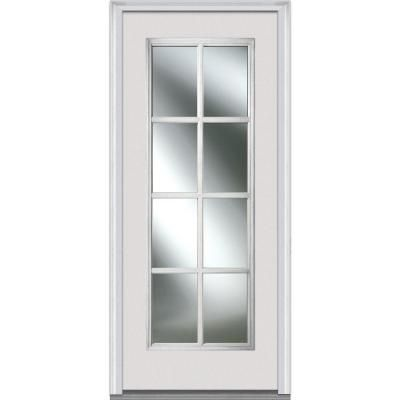 MMI Door 34 In. X 80 In. Simulated Divided Lites Right Hand Full Lite Clear  Classic Primed Fiberglass Smooth Prehung Front Door Z000651R   The Home  Depot