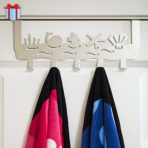 Ocean Over The Door Organizer With 5 Hooks Decorative For Bedroom Kids