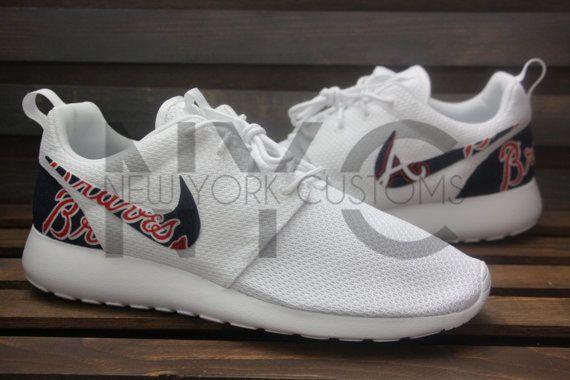 premium selection 38054 7fe8c Nike Roshe Run Triple White Atlanta Braves Custom Men by ...