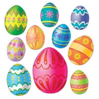 Clipart Uova Di Pasqua Colorful Easter Egg Cutouts 10 Pkg Partycheap Easter Egg Decorating Easter Egg Painting Easter Eggs
