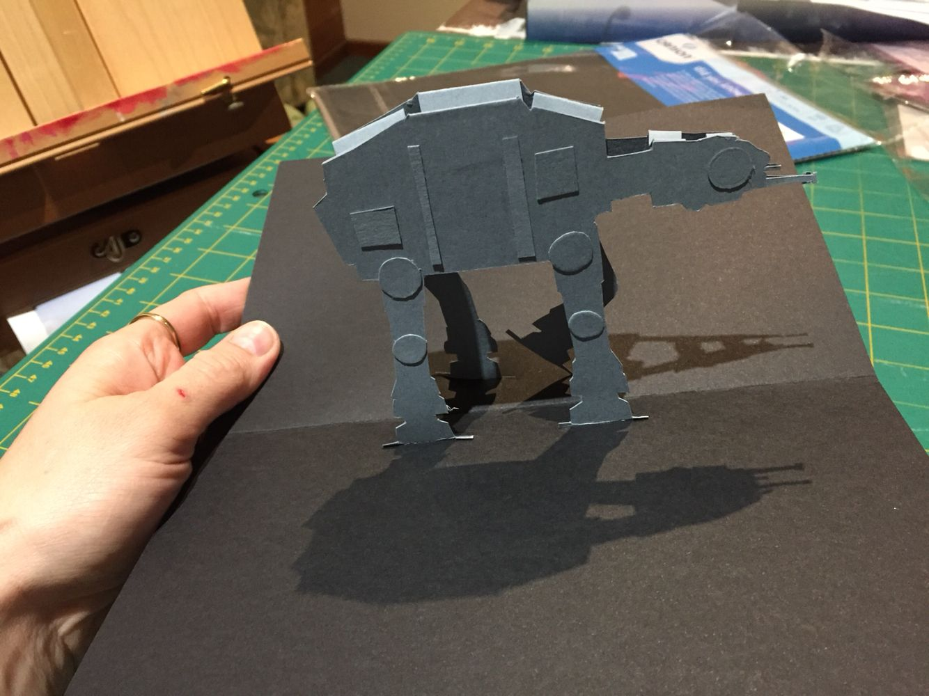 "Pop-up Star Wars card I made for my brother-in-law to be. The front of the card read: ""I hope you have a great time AT AT your birthday"", in Star Wars style writing :)"