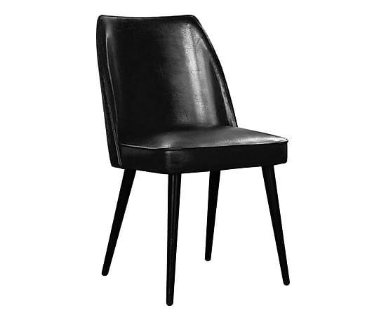 Sedia in pelle di bufalo e legno Garbo nero vintage ...