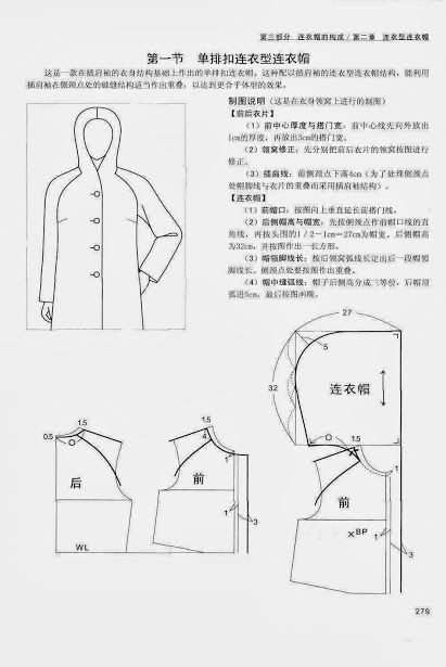 Chinese method of pattern making - it\'s my hobby. capuche (hood ...