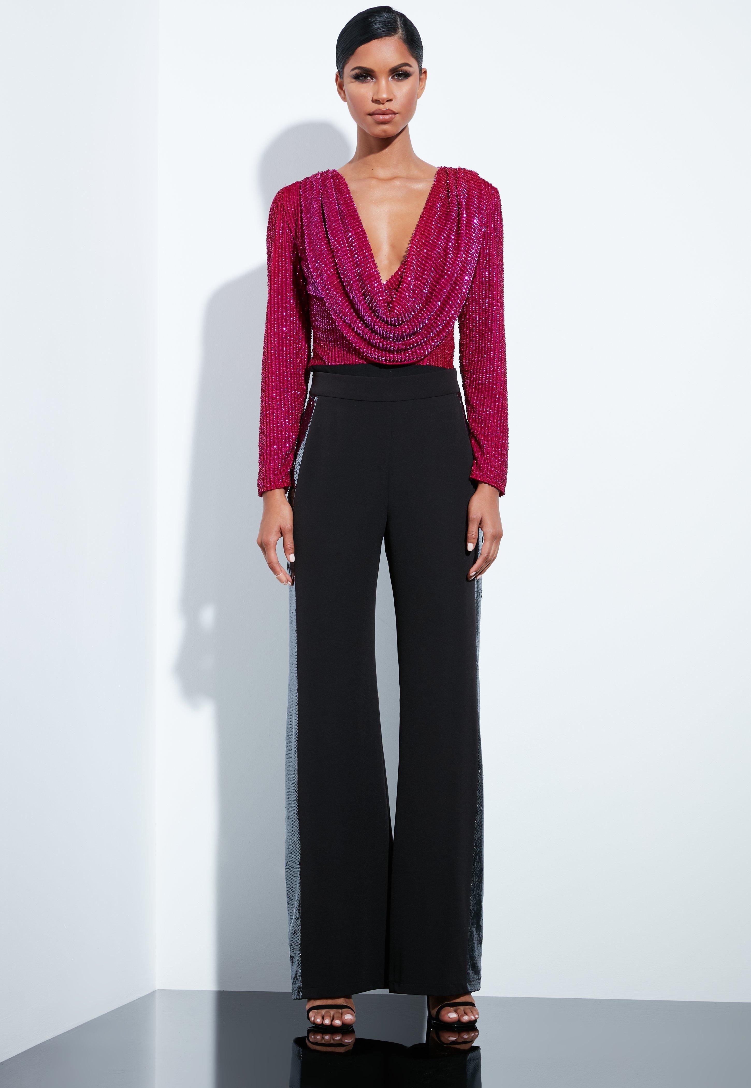 d0f48a79cf8d peace--love-pink-sequin-cowl-bodysuit | Women's Bodysuits | Pink ...
