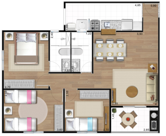 60m2 Plan Maison 2 Chambres 70m2