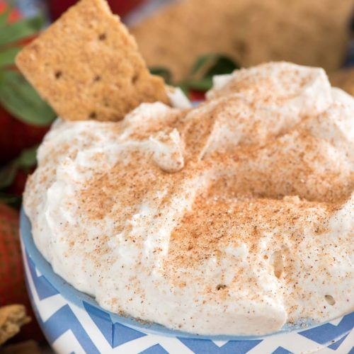 Churro Cheesecake Dip - an easy way to make no-bake cheesecake dip full of cinnamon sugar churro flavor! This is perfect for parties or an easy dessert