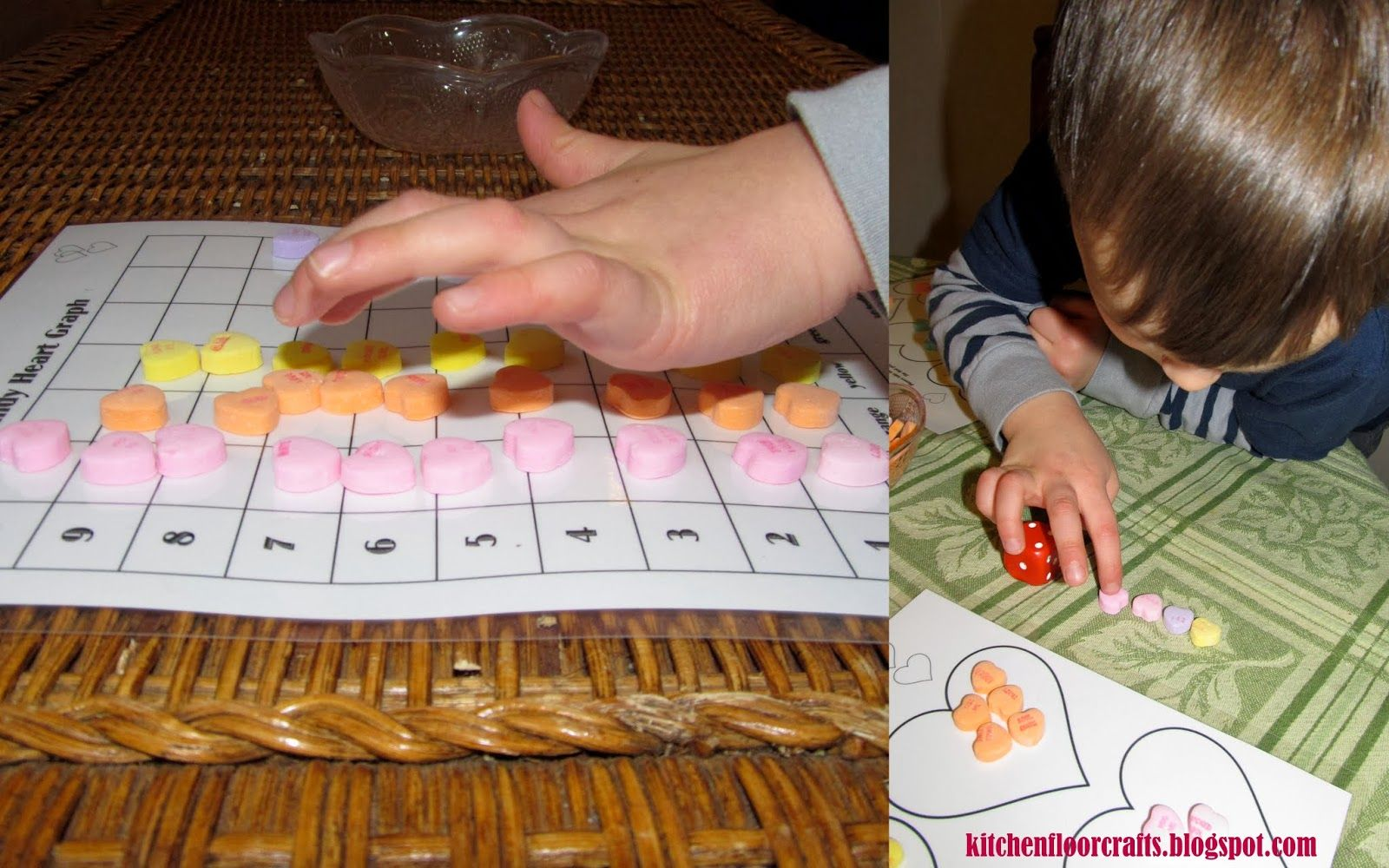 Kitchen Floor Crafts Using Candy Hearts for Early Math